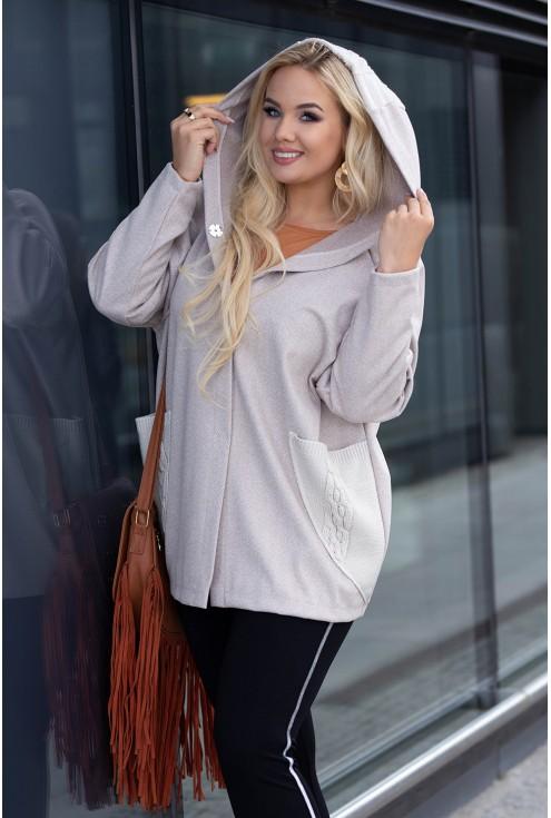Sweterek w kolorze beżowym w rozmiarach plus size