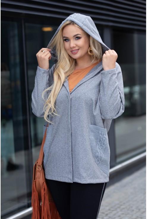 Zapinany sweter z kapturem xxl