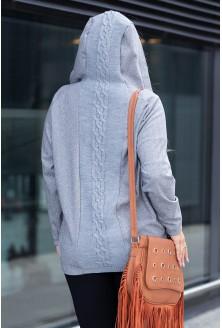 Wygodny, zapinany sweter w szarym kolorze z kapturem dla kobiet plus size