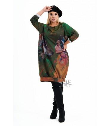 Zielona sukienka z kolorową grafiką - TOTO