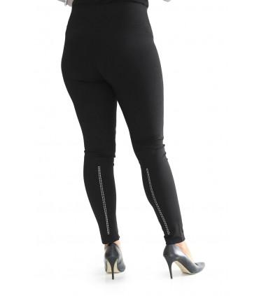 POLSKIE czarne legginsy ze srebrnymi cekinami - LIVIA