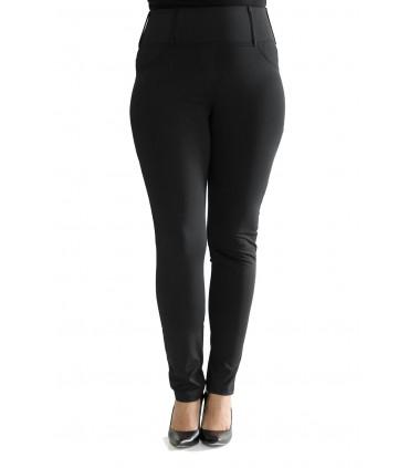 POLSKIE czarne antycelulitowe legginsy plus size z kieszeniami - NELL