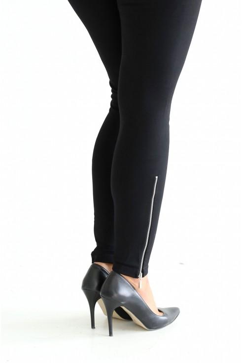 czarne legginsy z suwakami - duże rozmiary