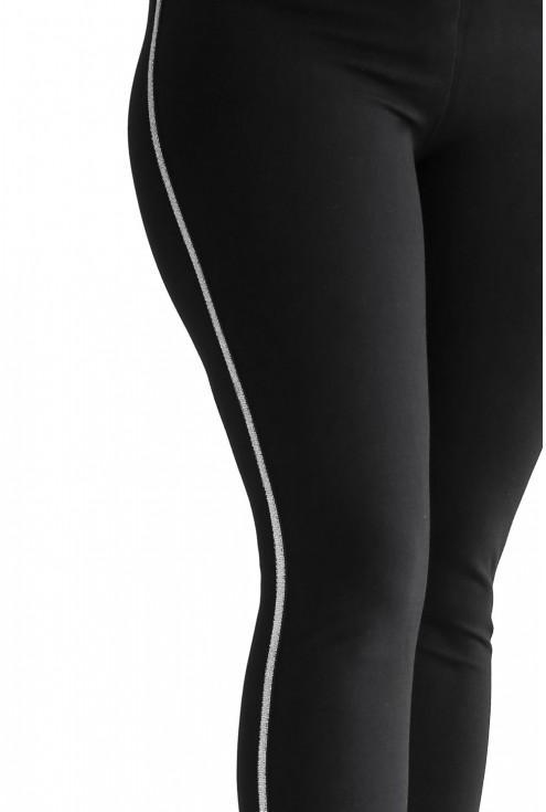 czarne legginsy z lampasami - detal