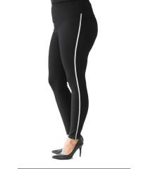 POLSKIE czarne legginsy plus size ze srebrnym lampasem - MAISIE