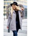 Jasnoszary płaszcz oversize z kieszeniami - ZITA