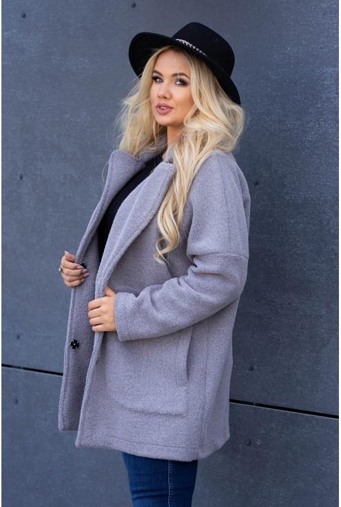 Wygodny, płaszcz jasnoszary dla kobiet