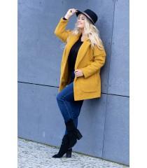 Miodowy płaszcz oversize z kieszeniami - ZITA