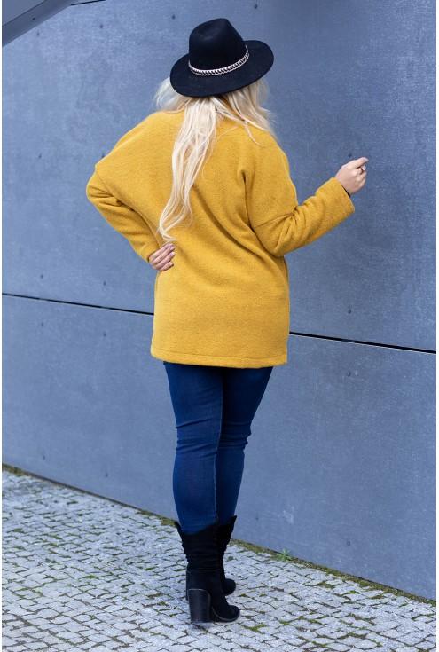 Miodowy płaszcz w dużym rozmiarze dla kobiet
