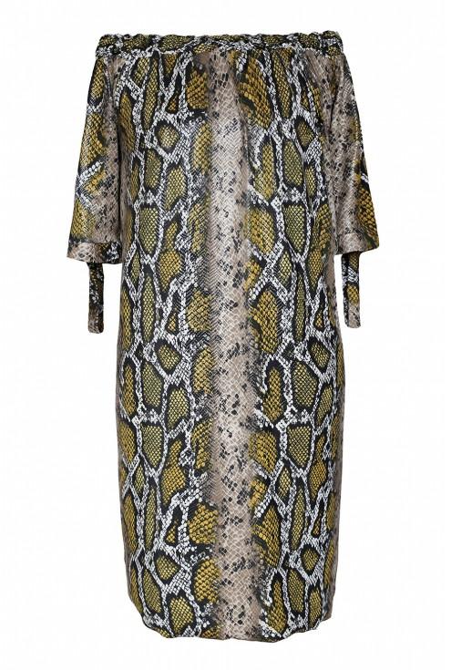 Brązowo-złota sukienka z wzorem w skórę węża xxl