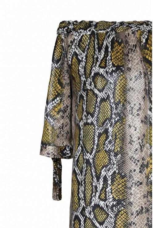 Brązowo-złota sukienka plus size