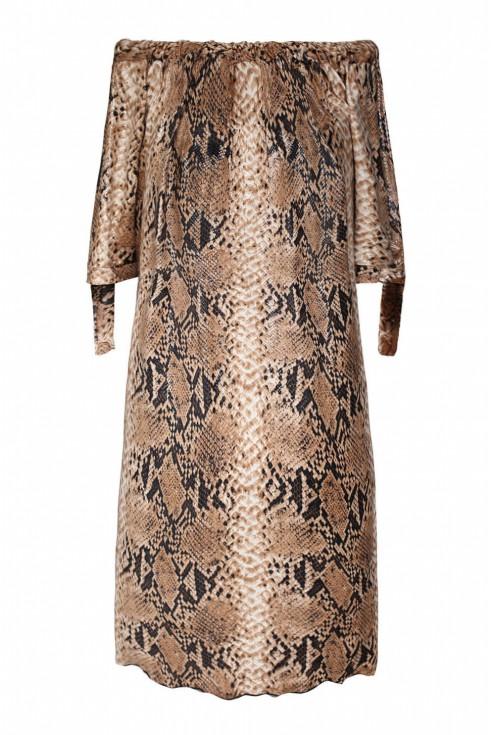 Camelowa sukienka z wzorem w skórę węża xxl