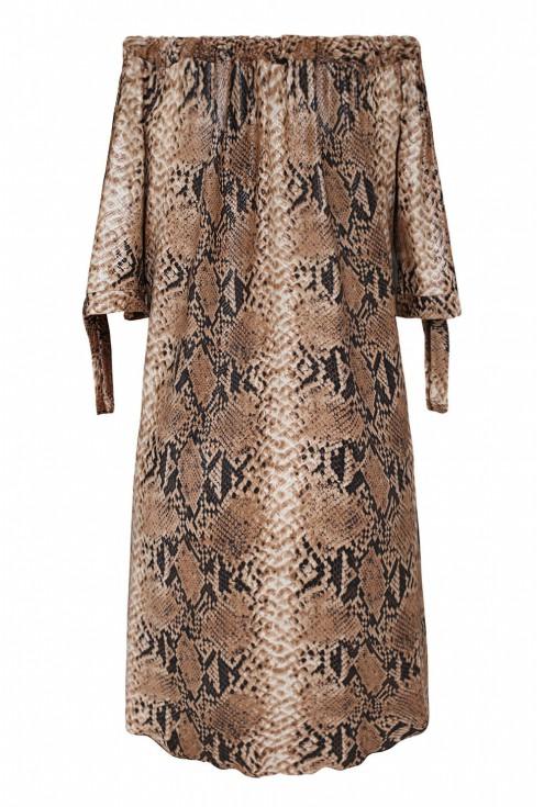 Camelowa sukienka z wzorem w skórę węża