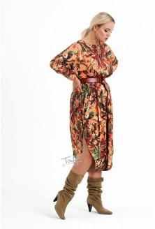 Sukienka w kolorowy wzór liście duże rozmiary