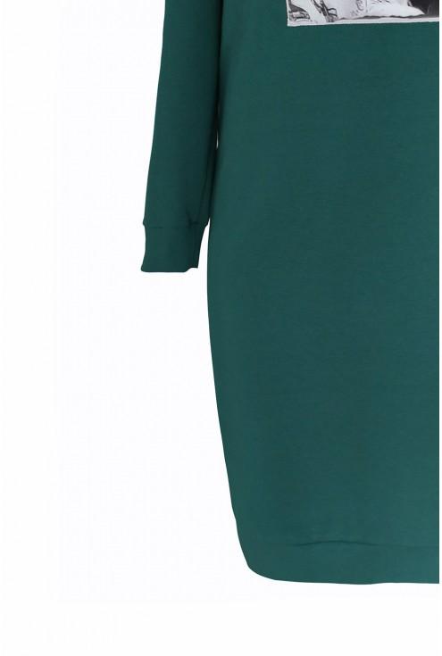 Butelkowo zielona sukienka z grafiką LICORY