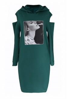 zielona sukienka plus size z kapturem licory