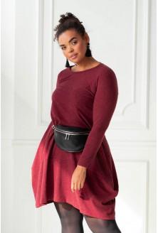 Bordowa ciepła sukienka xxl