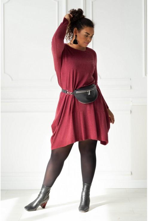 Bordowa ciepła sukienka plus size xxl