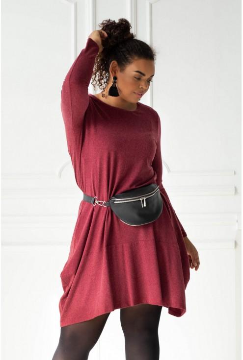 Bordowa ciepła sukienka duże rozmiary