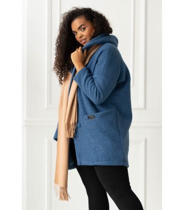 Płaszcz oversize z kapturem TIFFANY - kolor jeansowy