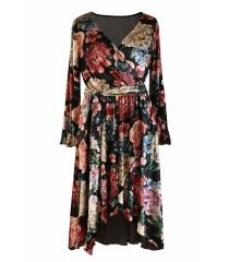 Czarna sukienka w kwiaty DOLCE WELUR
