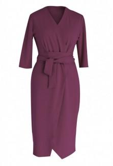 Śliwkowa sukienka z wiązaniem