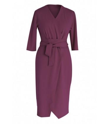 Śliwkowa sukienka z wiązaniem - VENEZIA