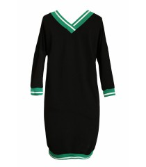 Czarna dresowa sukienka z zielonym ściągaczem - CORRIE