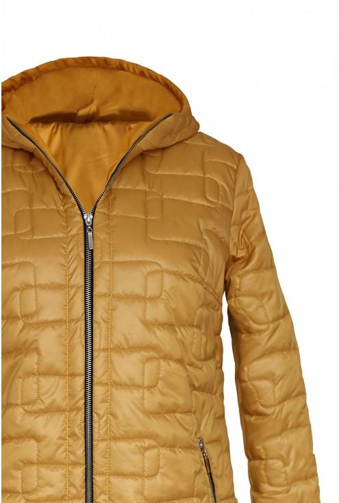 miodowa pikowana kurtka - detal