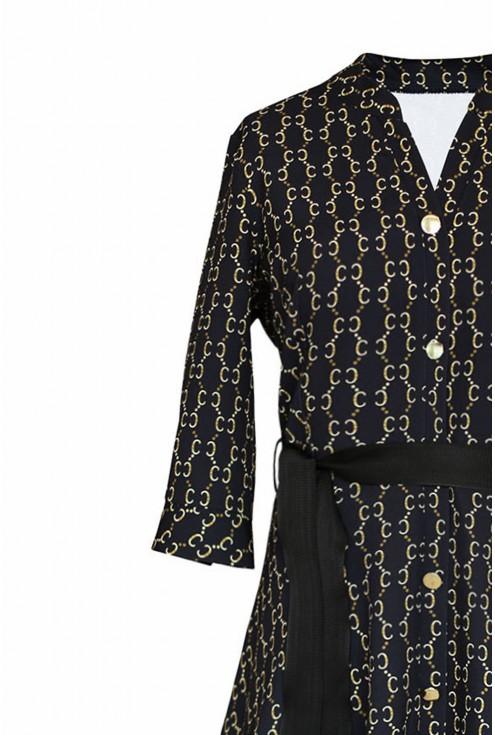 czarno-złota sukienka detal