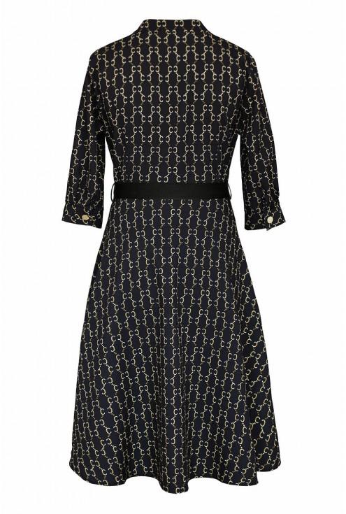 czarna sukienka z guziczkami - duże rozmiary