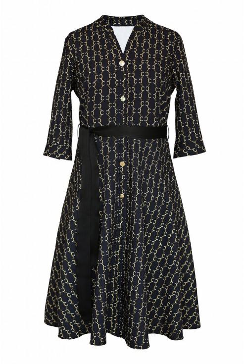 czarno - złota sukienka z guzikami - przód