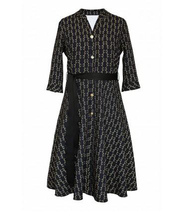 Czarno-złota sukienka z ozdobnymi guzikami - POPPY GOLD