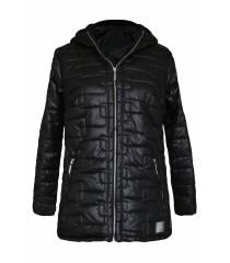 Czarna pikowana kurtka z kapturem - BRIDGET