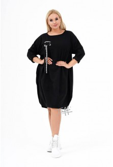 Czarna sukienka oversize z ozdobną wstążką - AJANA