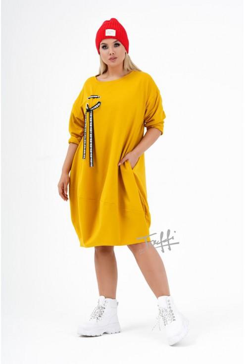 miodowa sukienka Ajana - przód