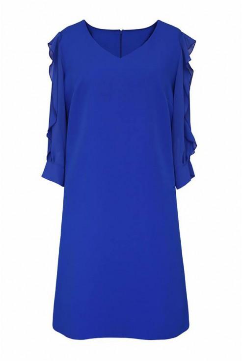 chabrowa sukienka z szyfonowymi rękawami
