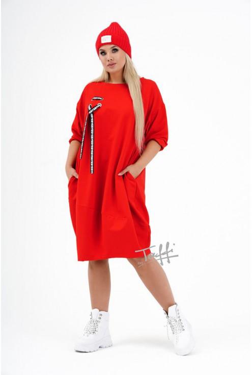 Czerwona sukienka oversize AJANA w sklepie z odzieżą plus size XL-ka