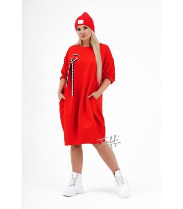 Czerwona sukienka oversize z ozdobną wstążką - AJANA