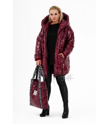 Bordowa pikowana kurtka z kapturem - FOBS