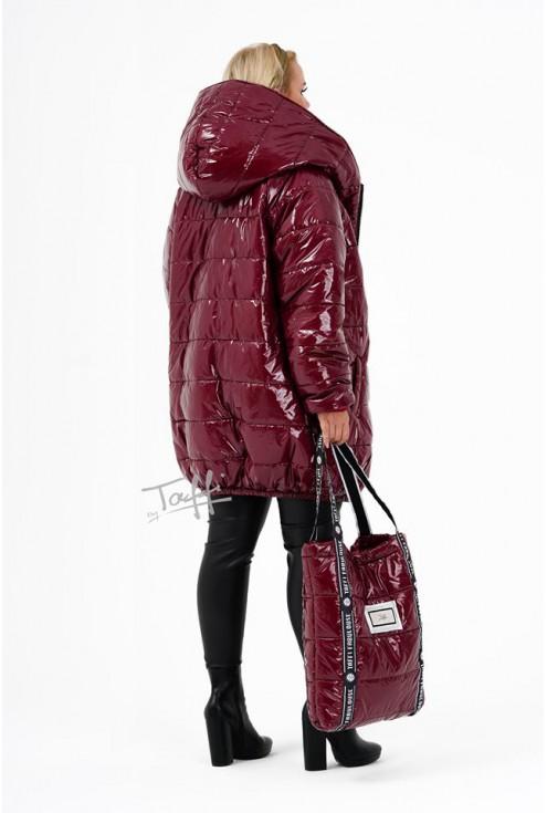 bordowa kurtka z kapturem -tył