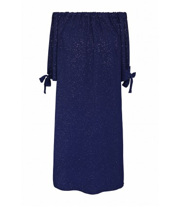 Granatowa błyszcząca sukienka hiszpanka - MARITA