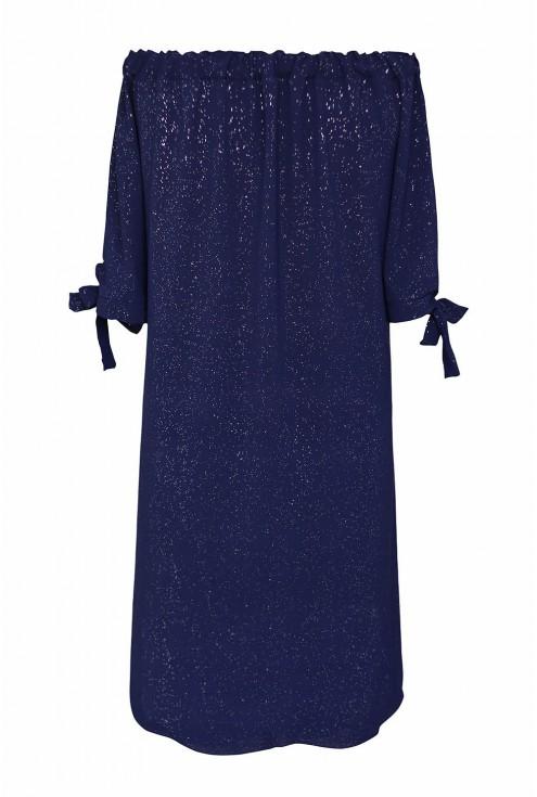 granatowa sukienka hiszpanka z brokatem - tył