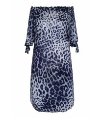 Biało-granatowa sukienka z wzorem w panterkę - MARITA