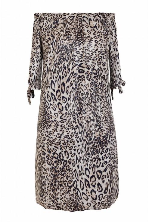 sukienka z wzorem w panterkę - przód