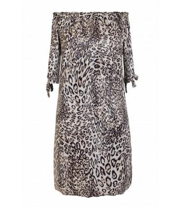 Ecru sukienka hiszpanka z wzorem w panterkę - MARITA