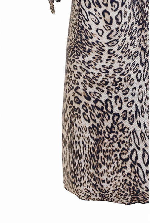 Ecru sukienka hiszpanka plus size z wzorem w panterkę - MARITA