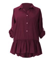 Bordo bluzka / koszula z falbanką SABRINA