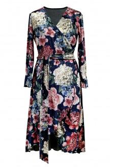 granatowa sukienka w kwiaty - przód