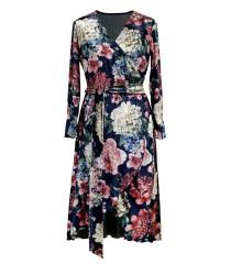 Granatowa sukienka z kwiatowym wzorem - DOLCE WELUR